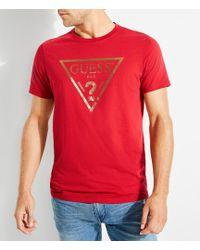 Guess - Short-sleeve Criscros Triangle Logo T-shirt - Lyst