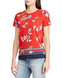 Lauren by Ralph Lauren - Floral Print Knit Jersey T-shirt - Lyst