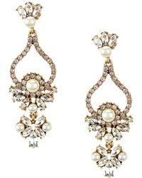 Belle By Badgley Mischka | Faux-pearl Rhinestone Chandelier Earrings | Lyst