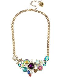 Betsey Johnson - Mixed Stone Cluster Frontal Necklace - Lyst