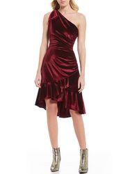 104816ad15c On sale Chelsea   Violet - Ruched One Shoulder Velvet Dress - Lyst
