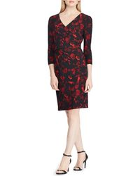 Lauren by Ralph Lauren - Floral Print Surplice Neckline Dress - Lyst