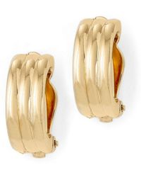 Lauren by Ralph Lauren - Gold Rib Hoop Clip-on Earrings - Lyst