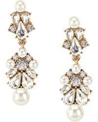 Belle By Badgley Mischka - Sweetheart Faux-pearl & Faux-crystal Chandelier Earrings - Lyst