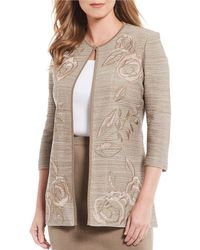 Ming Wang Floral Embroidery Melange Jacket - Multicolour