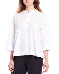 Eileen Fisher Stand Collar Organic Cotton Blend Shirt - White