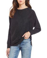 Chelsea & Violet - Ribbed Boat Neck Hi-low Shirttail Hem Sweater - Lyst