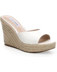 Steve Madden Micah Leather Espadrille Mules - White