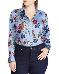 Lauren by Ralph Lauren - Plus Size Stripe Floral Print Sateen Shirt - Lyst