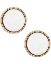Lauren by Ralph Lauren - Two Tone Clip Button Earrings - Lyst