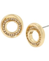 Kenneth Cole - Pave Sculptural Circle Stud Earrings - Lyst