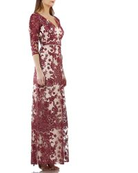 JS Collections - Two Tone Embroidered Lace V-neck Gown - Lyst