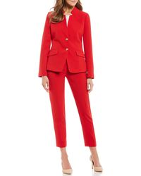 a21060632da Tahari - Pebble Crepe Stand Collar Cropped Pant Suit - Lyst