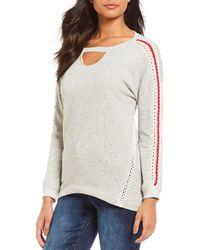 Democracy - Cut-out Scoop Neck Crochet Sleeve Details Hi-low Hem Sweatshirt  - 7c8adca2a