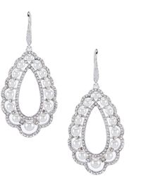 Anne Klein - Pave Pearl Chandelier Earrings - Lyst