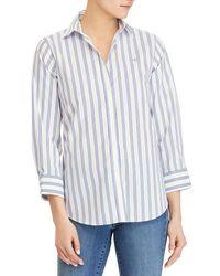 Lauren by Ralph Lauren - Non-iron Stripe Button-down Shirt - Lyst