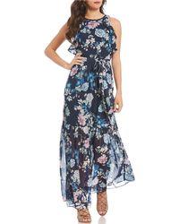 Vince Camuto - Chiffon Floral Printed Ruffle Maxi Dress - Lyst