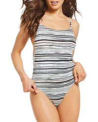 Roxy - Girl Of The Sea Striped One-piece Swimsuit - Lyst