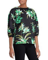 Lauren by Ralph Lauren - Palm Print Bishop-sleeve Top - Lyst