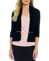 Ivanka Trump - 3/4 Sleeve Zipper Trim Open Front Cardigan - Lyst