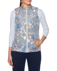 Ruby Rd. - Zipper-front Paisley Print Quilted Reversible Vest - Lyst