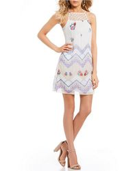 Sequin Hearts - Lace Yoke Printed Shift Dress - Lyst