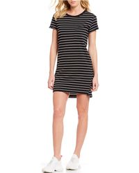 01f511321e58 Sanctuary - One Pocket Short Sleeve Stripe T-shirt Mini Dress - Lyst