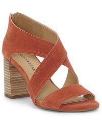 Lucky Brand Vidva Suede Block Heel Sandals Sp6yD2PM