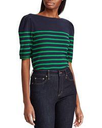 dc32a4b919d Lauren by Ralph Lauren - Petite Size Puffed Sleeve Stretch Cotton Striped  Knit Top - Lyst