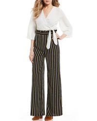 Blu Pepper - Stripe Faux Wrap Pant Jumpsuit - Lyst