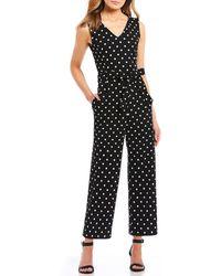 Calvin Klein - Polka Dot V-neck Belted Ankle Length Jumpsuit - Lyst