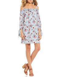 As U Wish - Stripe And Floral Print Shift Dress - Lyst