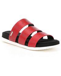 Calvin Klein Dalana Saffiano Leather Banded Slip On Sandals Fj8B3a