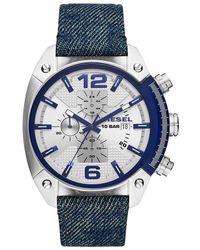 DIESEL - Chronograph Overflow Blue Denim Strap Watch 49mm - Lyst