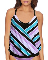Next By Athena - Bright Stripes Extended Double Up Tankini Swimsuit Top - Lyst