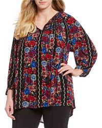 Ruby Rd. - Plus Size Embroidered Floral Print Crepon Top - Lyst