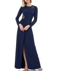 24cf115bbadcd Kay Unger - Long-sleeve Stretch Crepe Gown W/ Beading & Pleated Front Slit