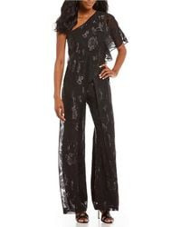 Adrianna Papell - Floral Chiffon One Shoulder Jumpsuit - Lyst