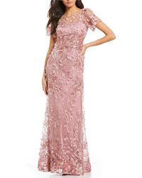 David Meister - 3-d Embroidered Floral A-line Gown - Lyst