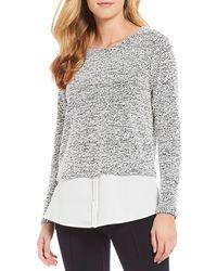 Calvin Klein - Nubby Knit Shirttail Hem Top - Lyst