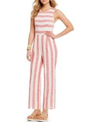 Sugarlips - Striped Wide Leg Jumpsuit - Lyst