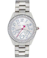 Betsey Johnson | Bling Bling Time Stainless Steel Crystal Bezel 3 Hand Boyfriend Bracelet Watch | Lyst