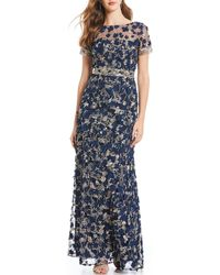 David Meister - 3-d Fleurette Embroidered Gown - Lyst