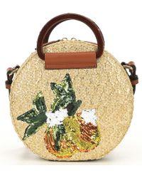 1249d1938a51 Kurt Geiger - Harriet Circle Straw Top Handle Pineapple Sequin Crossbody  Bag - Lyst