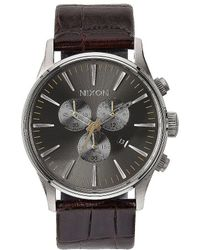 Nixon - The Sentry Chronograph & Date Leather-strap Watch - Lyst