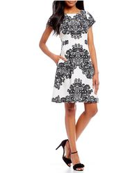 Adrianna Papell - Lace Printed Stretch Crepe Dress - Lyst