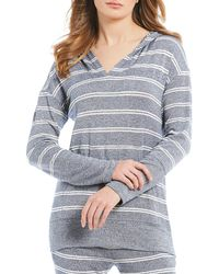 Felina - Lounge Jenny Striped Print Slub-knit Hoodie Lounge Top - Lyst