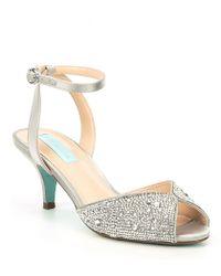 46582a4f221 Betsey Johnson - Blue By Royal Rhinestone Kitten Heel Dress Sandals - Lyst