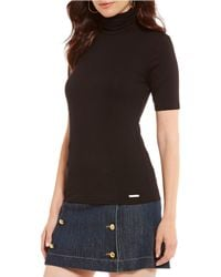 MICHAEL Michael Kors - Knit Jersey Short Sleeve Turtleneck Top - Lyst