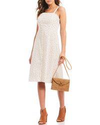42003d47153 Gianni Bini - Jenny Floral Print A-line Sleeveless Smocked Back Midi Dress  - Lyst